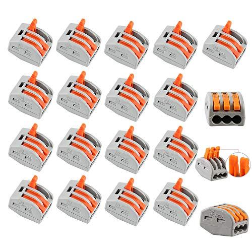 20 Stück Kompaktleiter Klemmleiste mit 3 Port Hebel Kabel Draht Federklemmverbinder 400V 28-12AWG
