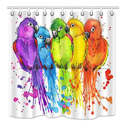 Aliyz Papageien D und Eacute; COR Duschvorhang Dschungel Bunte Vögel auf Ästen Aquarell Illustration Duschvorhang für Badezimmer Aquarell Stoff Bad Vorhänge Haken enthalten 71X71in
