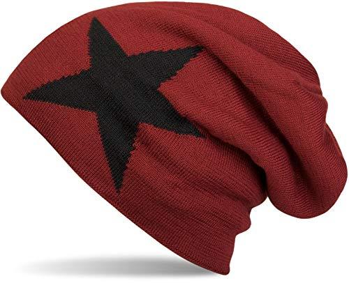 styleBREAKER warme Klassische Strick Beanie Mütze mit Stern und sehr weichem Innenfutter, Unisex 04024026, Farbe:Rot