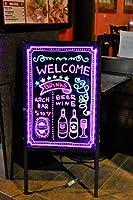 電飾看板 店頭看板 LED看板【専用カラー蛍光ペン付】ライティングボード 光る看板 A型 LEDボード/電子看板/光る看板/看板/ライティングボード/メッセージボード/手書き/メニュー/カフェ/バー 三脚一体型