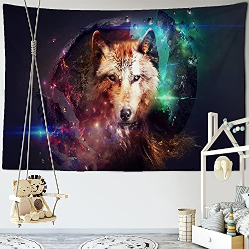 KHKJ Tapestry Psychedeli Snow Black White Wolf Tapestry Wall Hanging Backdrop Hippie Wall Carpets Boho Decor Table Cloth A1 200x150cm