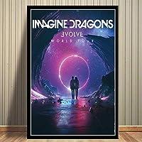 ドラゴンズミュージックアルバムカバーポスターウォールアート画像キャンバスポスターとプリントHDプリント油絵壁画リビングルーム家の装飾フレームレス絵画を想像してみてください