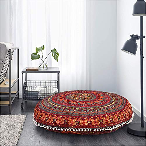 GOKUL HANDLOOM Elephant and Peacock Designs Large Round Pillow Cover Decorative Mandala Pillow Sham Indian Bohemian Ottoman Poufs Cover Pom Pom Pillow Cases Outdoor Cushion Cover (Red)