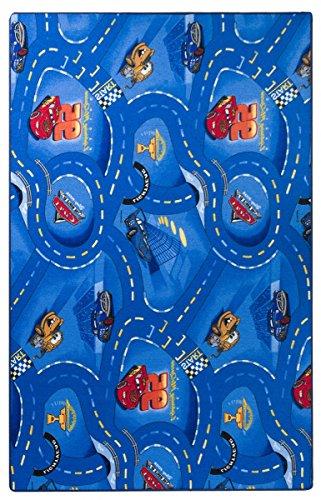 havatex Kinderteppich Cars - Farben: Rot, Blau, Grau | Spielteppich schadstoffgeprüft pflegeleicht strapazierfähig | Kinderzimmer Spielzimmer Zeichentrick Comic, Farbe:Blau, Größe:200 x 300 cm