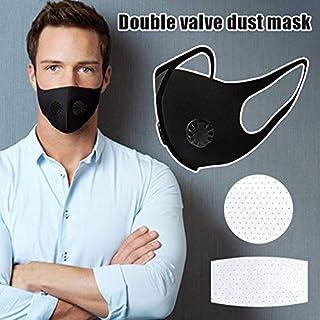 Feeilty Herbruikbaar stofmasker, wegwerp, comfortabel dubbellaags ventiel mondmasker, actieve koolstoffilter, respirator, gezichtsmasker, voor outdoor fietsen 3