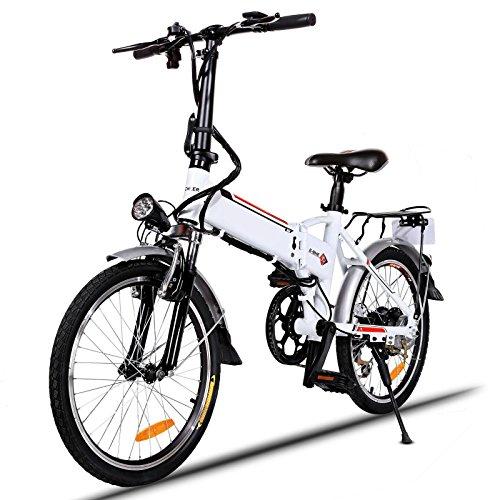 AIMADO Bicicletta Elettrica Montagna Pieghevole 18,7 Pollici per Donne, Mountain Bike 250 W 25-35 km/h Shimano 7 in Alluminio Batteria 36 V Luce Anteriore 3 Modi Garanzia di 1 Anno, Spina UE