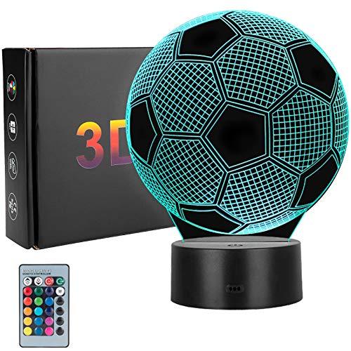 Winzwon 3D Illusion Lamp,Schlafzimmer Schreibtisch Tisch Nachtlicht USB-Stromversorgung 16 Farben 3d night light Blinken Berührungsschalter Schreibtischlampe für Kinder Weihnachts geschen (Fußball)