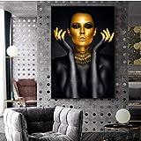 ganlanshu Oro Negro Mujer Arte Lienzo Pintura Chica Cartel Imagen de la Pared para la decoración de la Sala de Estar,Pintura sin Marco,80x120cm