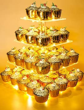 Vdomus Pastry Stand 4 Tier Acrylic Cupcake Display Stand with LED String Lights Dessert Tree Tower for Birthday/Wedding Party  Warm