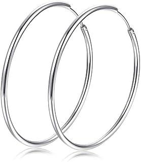 Hanie Silber Damen Creolen 925 Sterling Silber Ohrringe Durchmesser 45mm / 50mm Groß Kreole Rund Ring ohne Zirkonia Nickelfrei & Allergiefrei Ohrschmuck für Frau Mädchen Passt Alltag Party Hochzeit