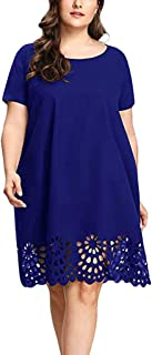 Women Plus Size Tunic Dress, Solid Short Sleeve Long Tops Dresses Bottom Hollow Out Casual Sundress