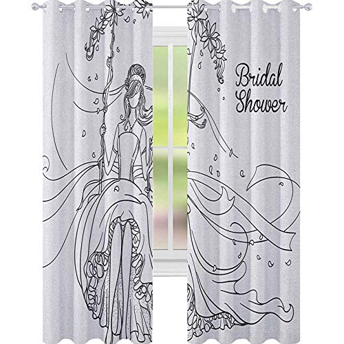 YUAZHOQI Bridal Shower Blackout Window Curtain Sketchy Black and White Hand Drawn Bride with Floral Swirls Swing Image Curtains Elegant for Living Room 52' x 84' Black and White