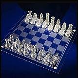 Lloow Fina de Cristal Juego de ajedrez, Piezas de ajedrez de Cristal sólido y Tablero de ajedrez de Cristal de Espejo para los jóvenes Adultos Juego del Cerebro Regalo,L