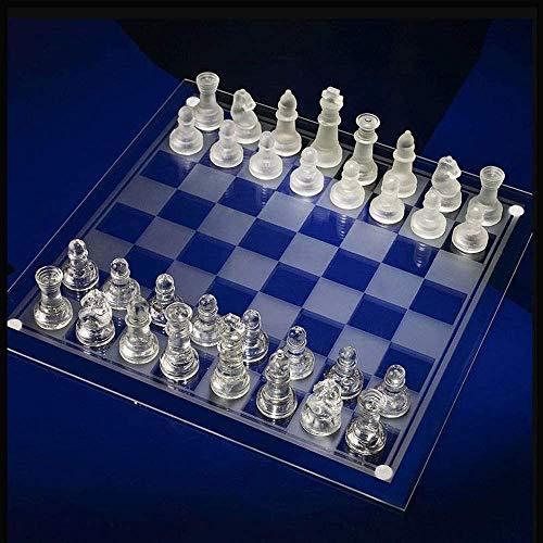Lloow Fina de Cristal Juego de ajedrez, Piezas de ajedrez de Cristal sólido y Tablero de ajedrez de Cristal de Espejo para los jóvenes Adultos Juego del Cerebro Regalo,S