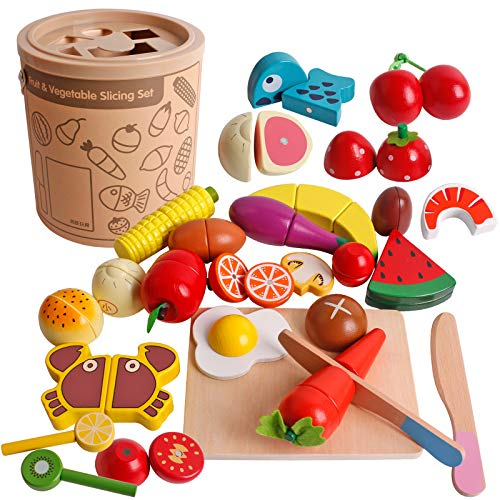 Dinhon Play Wooden Food Cooking Toy, Cutting Fruit Vegetables Pretend Play Kitchen Set Magnetic Wood Early Educational Development, Learning Gift for 3, 4, 5, 6 Year Old Kids Toddlers Boys & Girls