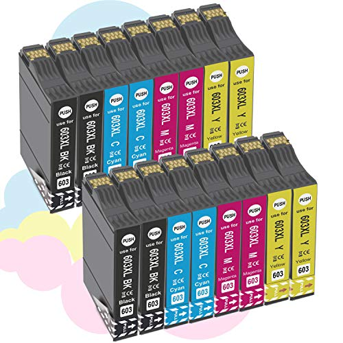 【Última actualización】 Compatible Cartuchos de Tinta para 603 XL 603 para EpsonXP-2100 XP-2105 XP-3100 XP-3105 XP-4100 XP-4105,WF-2810 WF-2830 WF-2835 WF-2850-4Negro/4Ciano/4 Magenta/4Amarillo