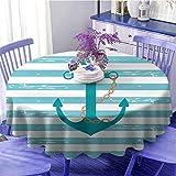 Tovaglia rotonda color foglia di tè con catena di ancoraggio, ispirata alla vita marina con sfondo foderato, vela oceano, morbida al tatto, diametro 129,5 cm, verde acqua turchese bianco