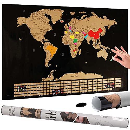 Bakaji Poster Mappamondo da Grattare con Bandiere Cartina Geografica Mappa del Mondo Scratch Off Dimensione 60 x 40 cm da Parete Muro Design Moderno Custodia Cilindro e Lima Idea Regalo … (Nero)
