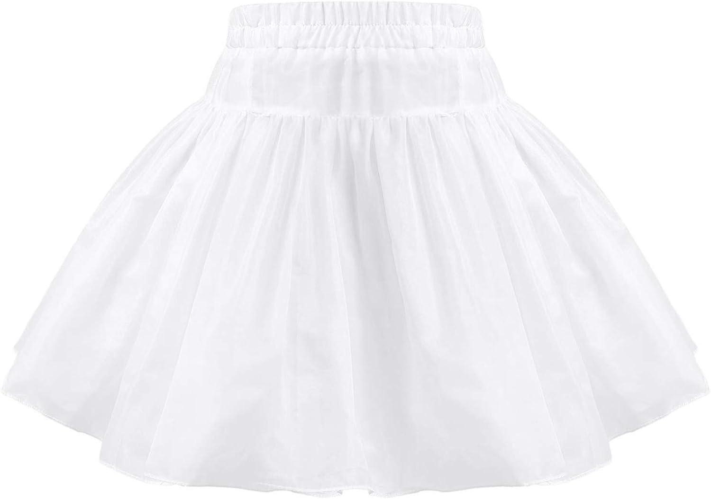 CHICTRY Little Flower Girls Layered Hoopless Elastic Half Slip Petticoat Wedding Party Tutu Skirt