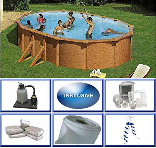 Summer Fun Stahlwandbecken Set Grandy Holzoptik oval 3,75m x 6,10m x 1,32m Folie 0,4mm Super Komplettset Pool Ovalpool / 375 x 610 x 132 cm Stahlwandpool