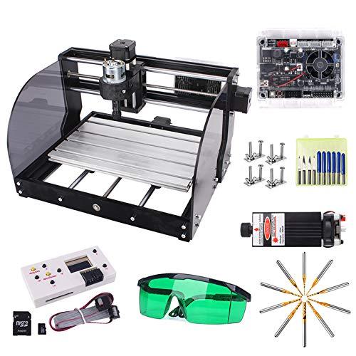 3W verbesserte CNC 3018 Pro-M GRBL Control DIY CNC-Graviermaschine mit geschützter Platine, Yofuly 3-Achsen-Leiterplatte PVC-Arbeitsbereich 300x180x45mm
