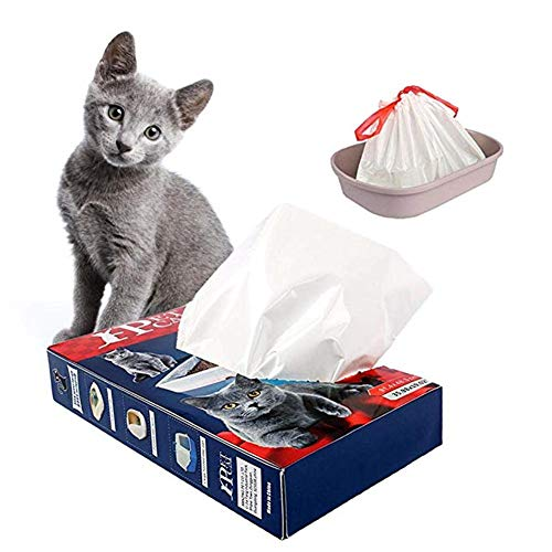 PINASE 10 Uds bolsa de arena gruesa para gatos con cordones caja de arena para gatos bandeja forros bolsa de basura para mascotas