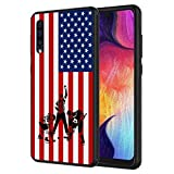 Galaxy A10E Case,Silhouettes of Ice Hockey Players USA Flag Pattern Anti-Scratch Shock Proof Black TPU and PC Protection Case Cover for Samsung Galaxy A10E