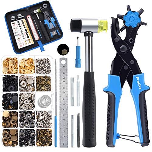 Lochzange Druckknopf Set - Preciva Revolverlochzange mit 340 Stk. Nähfreie Druckknöpfe und Nieten, Set für Leder, Papier, Gummi, Kunststoff, Textilien uvm.