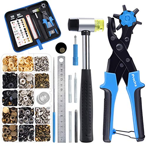 Preciva Hole Punch Plier Set, Revolving Punch Hole Tool Kit with Punch Plier, Ruler, Grinding Rod, Plastic Hammer,240pcs Leather Double Cap Rivets and 100pcs Leather Snap Fasteners