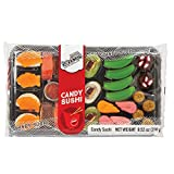 Gummy Candy Sushi Bento Box - 10 Kinds of Sushi Rolls and Garnishes - 1 Tray with 26 Sushi Bites of Marshmallows, Licorice, Sour Strips, Gummi Bears and Fish - Japanese Style!