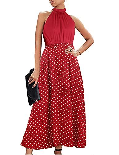 BUOYDM Vestido Mujer Verano Elegant Fiesta Largo Sin Mangas Maxi Vestidos Boho Sexy de Noche Playa Vacaciones Rojo XL