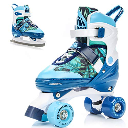 meteor® 2in1 Rollschuhe und Schlittschuh - Kinder Rollerskates Set - Dieser Schuh ist im Sommer als Rollschuh -im Winter als Damen Schlittschuh -S(31-34)-M(35-38)-L(39-42)