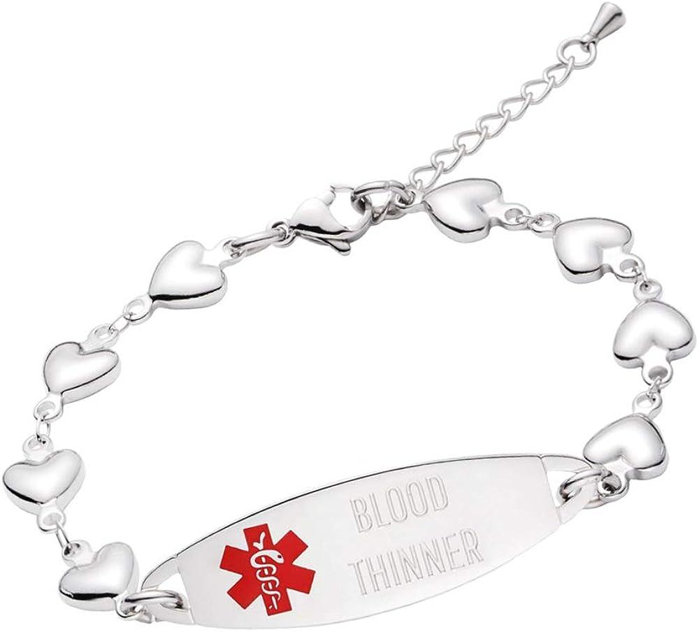 LinnaLove Heart Medical Popular popular Alert Manufacturer regenerated product Bracelet Jewe Women ID for Fashion