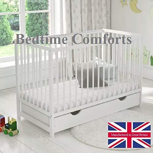 Bedtime Comforts Ltd - Cobertor para colchón de Cuna (elástico, 160 x 81 cm), algodón Mixto, Blanco, 47
