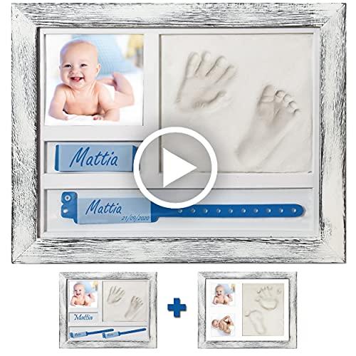 A&M Italia Marco de huellas de bebé efecto Shabby – Multi configuraciones, portapulsera, nombre y foto