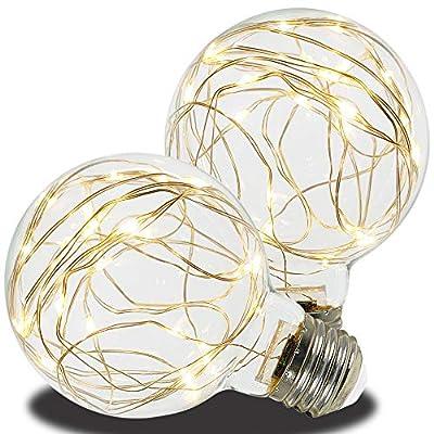 AmeriLuck LED G25 Globe Glass Fairy Light Bulb, Starry Fun Lighting, Festive Ambience Nightlight, Waterproof for Outdoor Use, Warm White 2 Pack