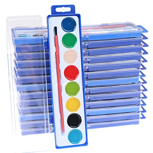 Qingsi 20 Sets Watercolor Paint Pack with 8 Washable Colors Paintbrushes for Kids Adults Parties Students Classroom Halloween Masquerade