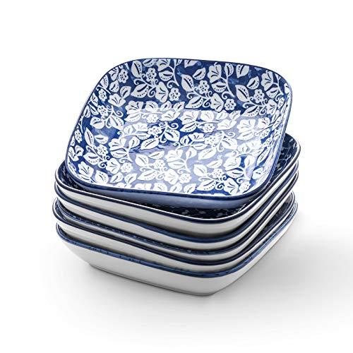 Selamica Porcelain 8inch Square Dinner Plates Salad Pasta Bowls Set of 6 Vintage Blue