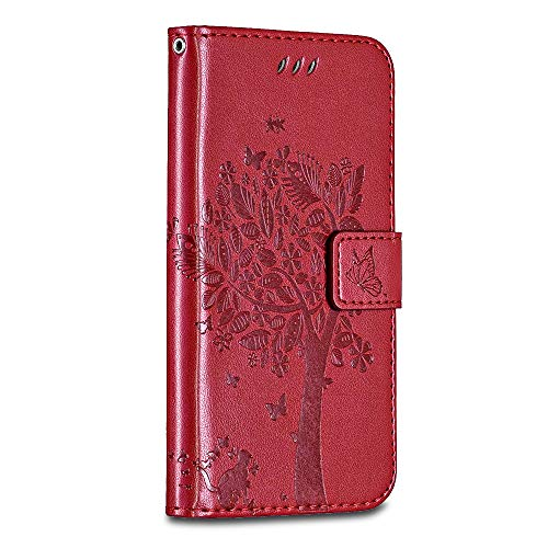 Casake Huawei P8 Case [Emboss] with [Magnetic Closure][TPU Inner Shell][Card Slots] Leather Flip Case Compatible with Huawei P8 -Red#1