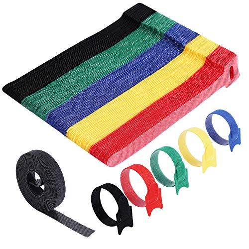 VoJoPi 100 Stück Klett Kabelbinder, 5 Bunt Wiederverwendbare Kabel Klettband mit Nylon, Kabelklett für Hause und Büro