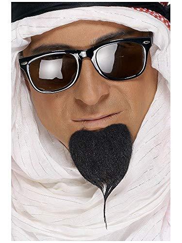 shoperama Barba de jeque negro adhesivo Araber oriental para hombre, accesorio para disfraz