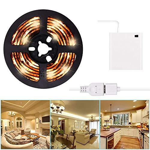 Striscia LED USB o alimentato a batteria Kit striscia LED a luce 3m / 9,8FT Impermeabile LED super luminoso a nastro bianco caldo