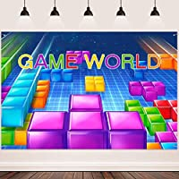 HD Game World Background FHZON 10x7ft Colorful Square Classic Game Backdrop for Photography Theme Party Baby Shower Cake Ta e Studio Booth Banner 460