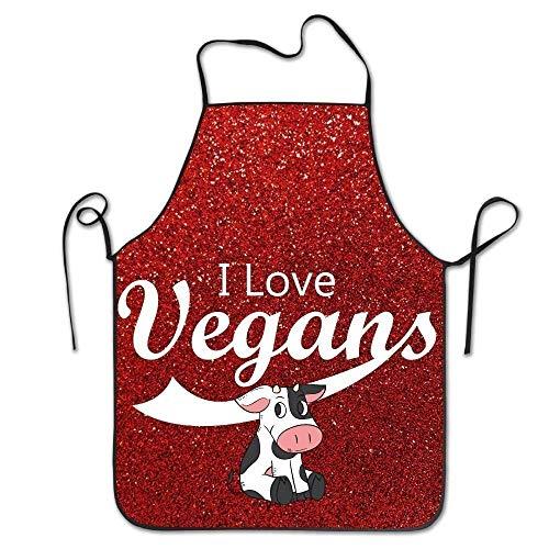 Yuanmeiju I Love Vegans Women's Funny Creative Print Cooking Delantales