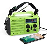 Onlyee Emergency Solar Hand Crank Portable Radio, NOAA Weather Radio for Household and Outdoor Emergency with AM/FM, LED Flashlight, Reading Lamp, 2000mAh Power Bank USB Charger, and SOS Alarm
