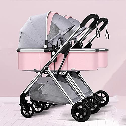 YXCKG Double Stroller | Lightweight Double Pram with Tandem Seating Foldable Split into Two for Infant and Toddler Anti-Shock Twins Pushchair (Color : Pink)