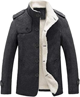 Lavnis Men's Cotton Blend Jacket Casual Stand Collar Single Breasted Trench Overcoat