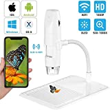 DOOK Microscopio Digital WiFi, Recargable 1000x Microscopio USB Portatil HD con Zoom, 8 LED, USB 2.0, Soporte de Cuello de Cisne, Min Microscopio Endoscopio Camara para iPhone iOS Android iPad
