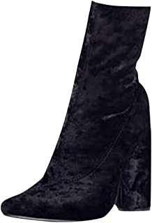 Women's Long Boots High-Heeled Pointed Thick Ankle Boots Large Size Side Zipper Boots