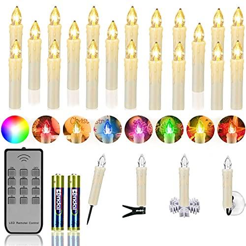 ZIYOUDOLI 20er RGB LED Kerzen Weihnachtskerzen IP64 wasserdicht , Dimmbar mit Fernbedienung und Timerfunktion,als Dekoration für Weihnachten,Weihnachtsbaum, Weinachten LED Kerzen Lichterkette